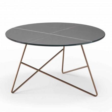 Runt soffbord av metall med marmoreffektglasplatta - Magali