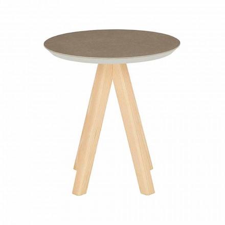 Runt vardagsrumsbord i ask och keramisk topp - Amerigo