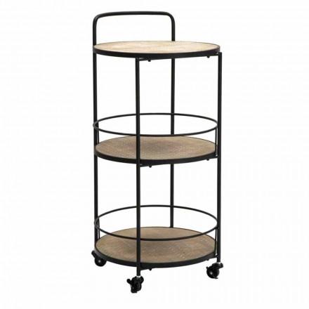 Modern design soffbord i järn och MDF med hjul och 3 hyllor - Lennox