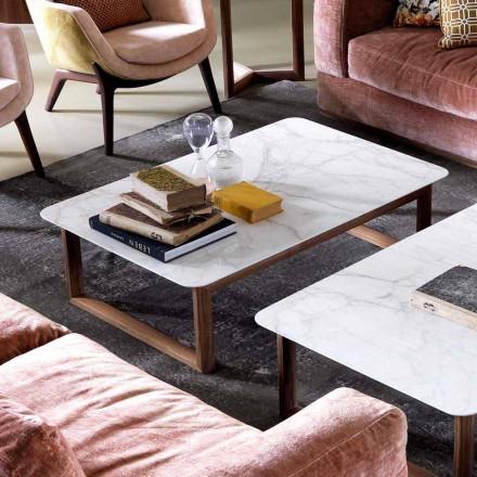 Grilli York design massivt trä och marmor soffbord tillverkat i Italien