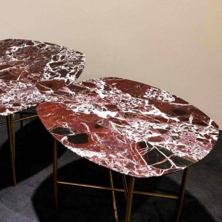 Designbord i Levanto röd marmor och metall, tillverkad i Italien - Morbello