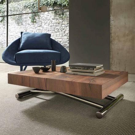 Modernt omvandlingsbart soffbord i trä och metall, tillverkat i Italien - Spirit