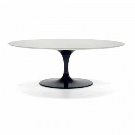 Oval soffbord i laminat och aluminium Tillverkad i Italien - dollar