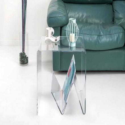 Modernt design litet bord / magasinställ, i plexiglas, Cavour