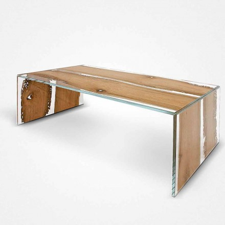 Rektangulärt soffbord gjord av glas och trä, delfin Venedig Giudecca