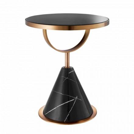 Runt soffbord i stål med kopparfinish och modern sten - Aprilia