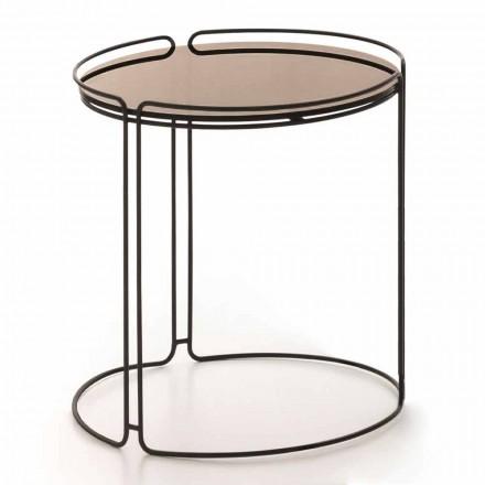 Runt soffbord av metall med glasskiva Tillverkad i Italien - George
