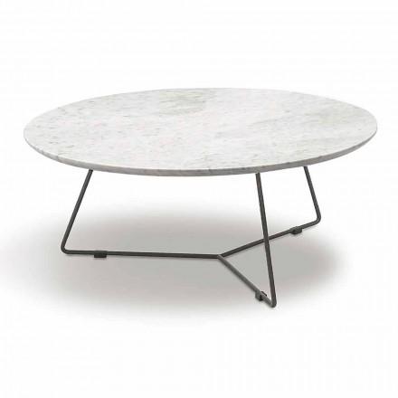 Soffbord med rund marmortopp och metallbotten tillverkad i Italien - Gin