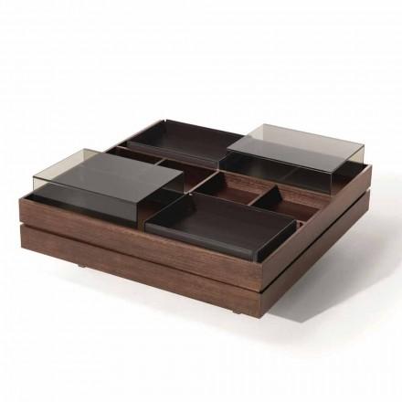 Soffbord i trä med detaljer i glas och läder Tillverkad i Italien - Ermano