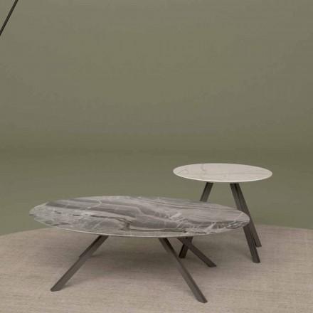 Loungebord i Orobico eller Calacatta marmor och metall Tillverkad i Italien - Sirena
