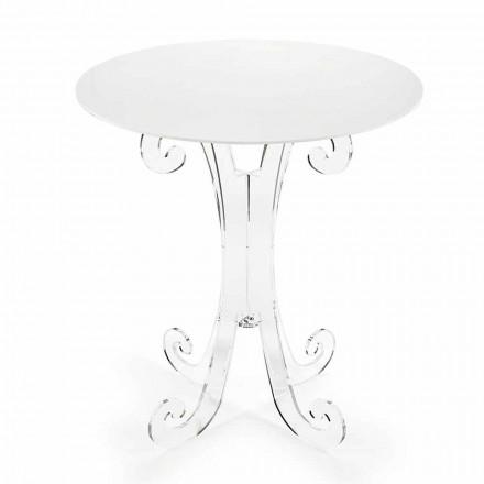 Runt soffbord i transparent och vitt plexiglas eller med trä - Stilio