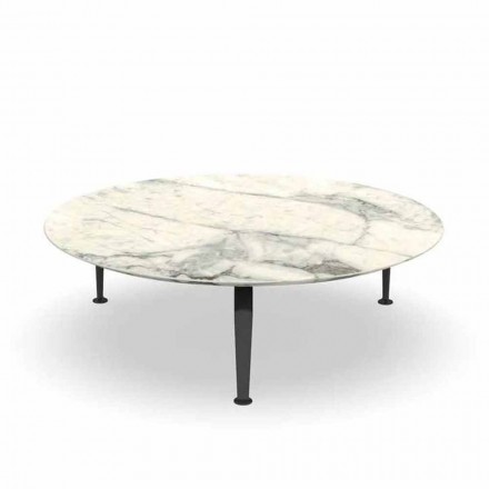 Runda trädgårds soffbord i Calacatta stengods och aluminium - Kryssning av Alu Talenti