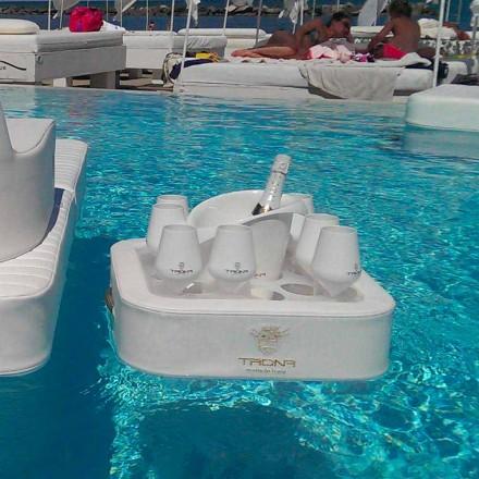 Soffbord - flytande bricka med konstläder och plexiglas nautiska Trona
