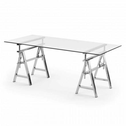 stål / glas höjdjusterbart bord (L190xH72 / 74 / 78xP90cm) Cristal