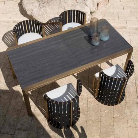 Utdragbart bord 340 cm Uteservering i aluminium och glas eller laminam - Julie