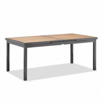 Utdragbart till 240 cm utomhusbord i aluminium och teaktopp - Bilel