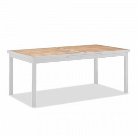 Utdragbart utomhusbord i aluminium och teaktopp - Bilel