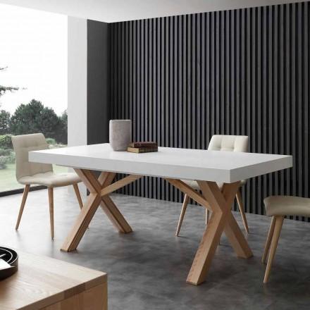 Vit utdragbar bord med naturlig fast struktur Rico