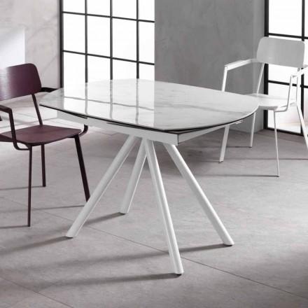 Utdragbart bord med keramiska topp och metallben, Lozzolo