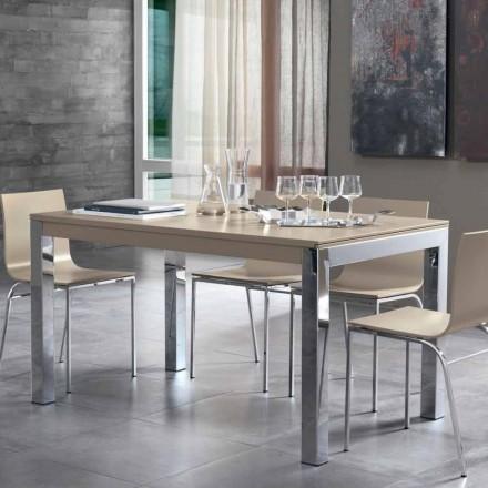 Förlängningsbart bord med Tanganika valnötträ och metallben - Ketla