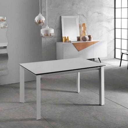 Modernt utdragbart bord upp till 220 cm, vit keramikplatta, Nosate
