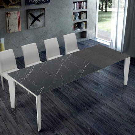 Utdragbart köksbord i marmor och stål tillverkat i Italien - Settanta