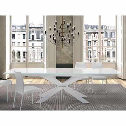 Utdragbart bord upp till 300 cm i glas och stål tillverkat i Italien - Grotta