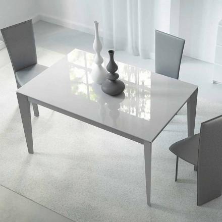 Utdragbart bord Upp till 220 cm i glas och stål tillverkat i Italien - Numana