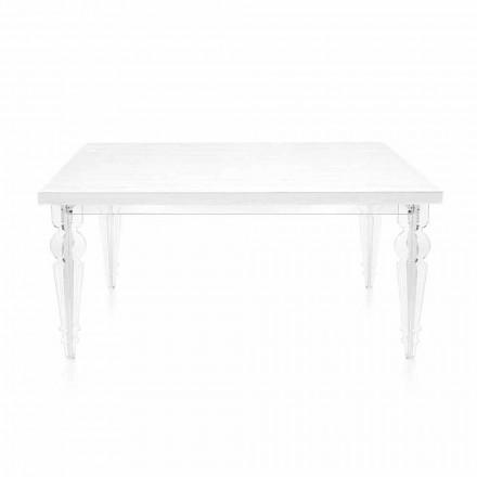 Utdragbart bord Upp till 255 cm i transparent plexiglas och vitt trä - Fabo