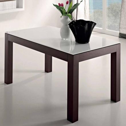 Förlängningsbart bord upp till 270 cm i glas och ask trä tillverkat i Italien - Homer