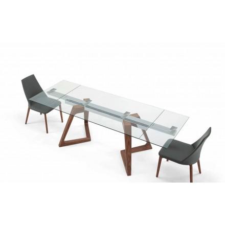Glas och venered trä förlängningsbart bord upp till 280 cm - Eugrafo