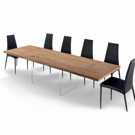 Utdragbart bord upp till 300 cm i träbearbetat trä och glas - Strappo