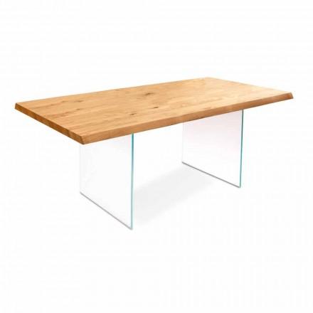 Matbord i ekfanér med glas ben Nico