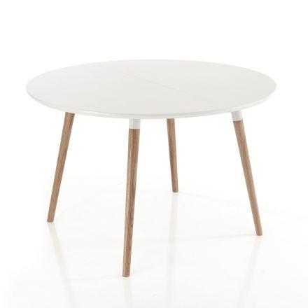 Utdragbar bord i trä, matt vit Ian golv