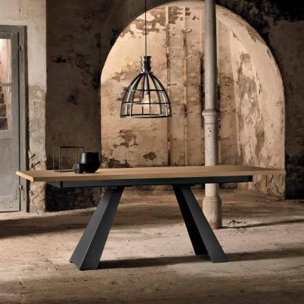 Modernt sidoförlängbart bord i ek, tillverkat i Italien, Zerba