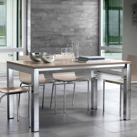 Förlängningsbart bord i Tanganika valnötträ, sidoband och metallbas - Ketla