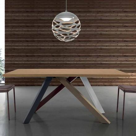 Modernt utdragbart bord med laminerat trä-topp tillverkat i Italien - Settimmio