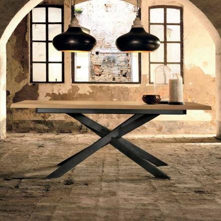 Design förlängningsbart bord i ek, tillverkat i Italien, Oncino