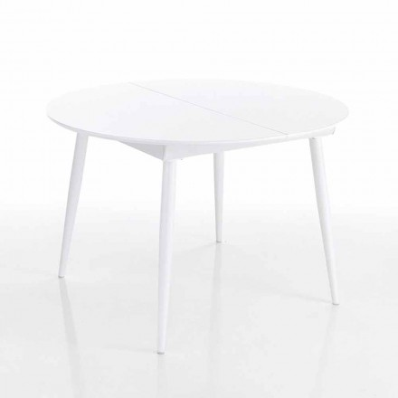 Rundt utdragbart matbord i vitt Mdf - Ismaele