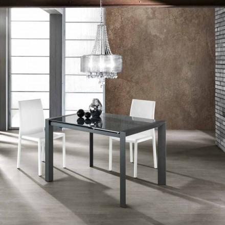 Utdragbar bord härdat glas grå målad metall och Zeno