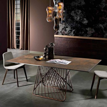 Modernt bord med glaskeramisk yta gjord i Italien, Mitia
