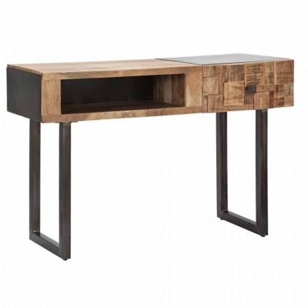 Järn- och Acacia-träkonsolbord med designlåda - Dena
