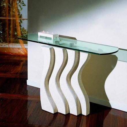 Konsolbord i sten och glas med Ciril modern design