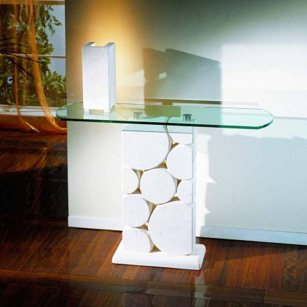Konsol bord handskuren Vicenza Stone och Hosios kristall