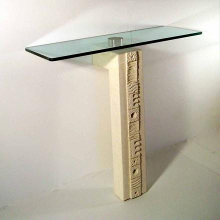 Rektangulär konsol bord i Vicenza Stone och Abidos kristall