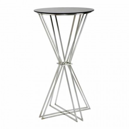 Round Bar Table of Modern Design in Iron and Glass - Benita