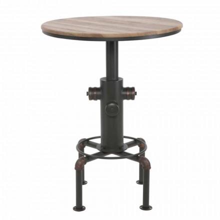 Rundstångsbord i industriell stil i järn och trä - Niv