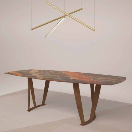 Lyxigt rektangulärt bord i Ombra Marble av Caravaggio och metall - Naruto