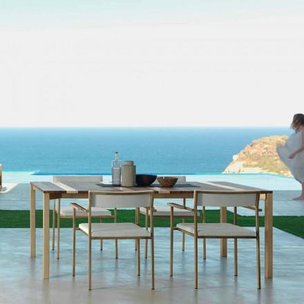 Modernt trä och rostfritt stål utomhusbord 200x100 Casilda Talenti