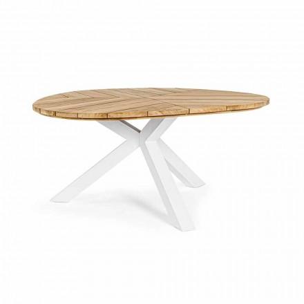 Runt utomhusbord i teak med aluminiumbas, Homemotion - Selenia